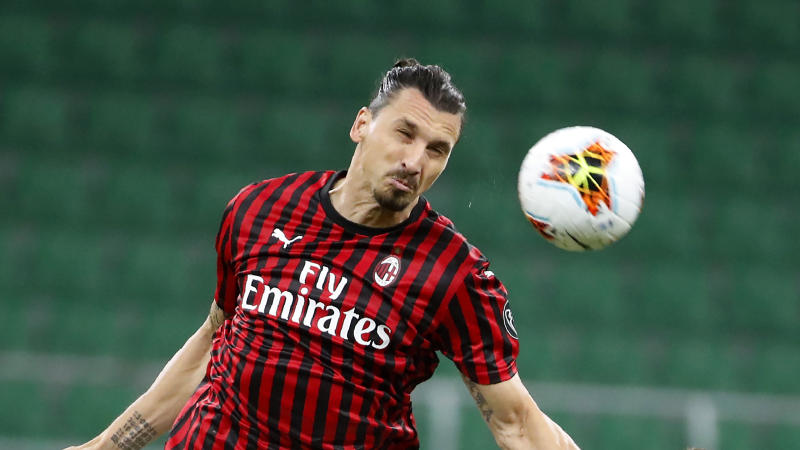 AC Milan's Zlatan Ibrahimovic controls the ball during the Serie A soccer match between AC Milan and Atalanta at the San Siro stadium, in Milan, Italy, Friday, July 24, 2020. (AP Photo/Antonio Calanni)