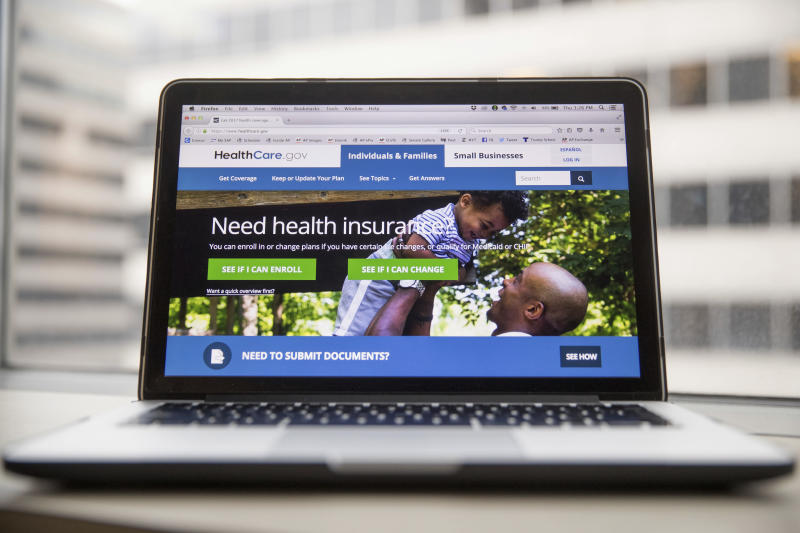 "This Thursday, Feb. 9, 2017 photo shows the HealthCare.gov website, where people can buy health insurance, displayed on a laptop computer screen in Washington. Millions of Americans will still need to navigate the current federal health care system in the coming months no matter what happens in Congress _ whether the Republican plan to replace ""Obamacare"" is resurrected in some form after it was pulled on Friday, March 24, 2017, or if it never comes back. (AP Photo/Andrew Harnik)"
