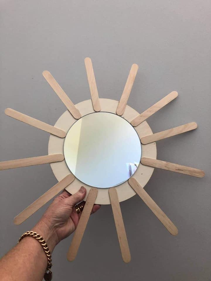 Using paddle-pop sticks Michelle created a frame around the Plywood Mirror. Photo: Instagram/lookwhat_i_found