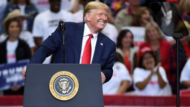 PHOTO: President Donald Trump speaks during a campaign rally in Dallas, Oct. 17, 2019. (Jeffrey Mcwhorter/AP, FILE)