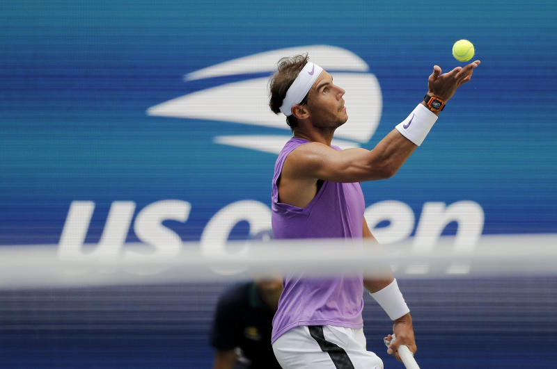 Rafael Nadal, of Spain, serves to Hyeon Chung, of South Korea, during round three of the US Open tennis championships Saturday, Aug. 31, 2019, in New York. (AP Photo/Eduardo Munoz Alvarez)