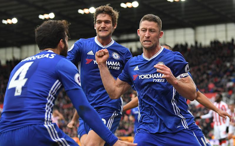 Gary Cahill celebrates his late winner - 2017 Getty Images