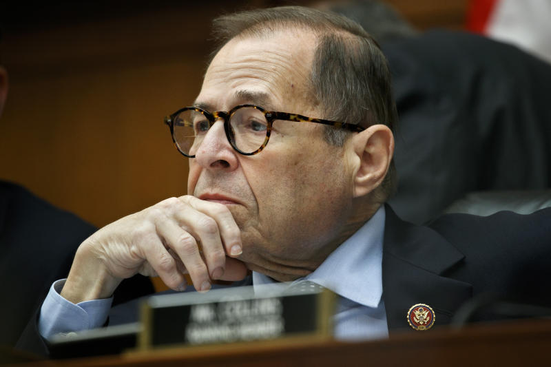 FILE - In this Sept. 17, 2019, file photo House Judiciary Committee chairman Rep. Jerrold Nadler, of New York, listens as a person testifies to the House Judiciary Committee on Capitol Hill in Washington. A U.S. congressional committee has requested a trove of internal Facebook documents that the company's critics say will demonstrate how the social media giant unfairly leveraged its market dominance to crush or absorb competitors. (AP Photo/Jacquelyn Martin, File)