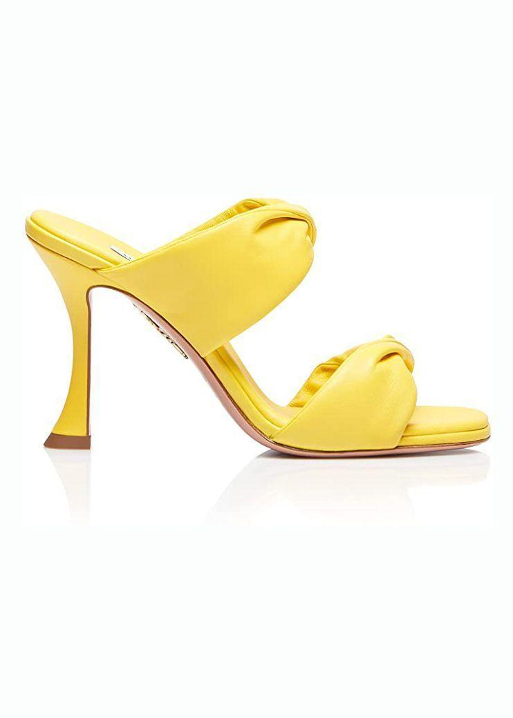 """<p><strong>Aquazzura</strong></p><p>amazon.com</p><p><strong>$725.00</strong></p><p><a href=""""https://www.amazon.com/dp/B097SBZ3GB?tag=syn-yahoo-20&ascsubtag=%5Bartid%7C10056.g.37145833%5Bsrc%7Cyahoo-us"""" rel=""""nofollow noopener"""" target=""""_blank"""" data-ylk=""""slk:Shop Now"""" class=""""link rapid-noclick-resp"""">Shop Now</a></p><p>Nothing reveals a here-for-a-good-time attitude as quickly as a pair of brightly colored heels. This silhouette is especially eye-catching due to the mix of skinny heel and thick straps.</p>"""