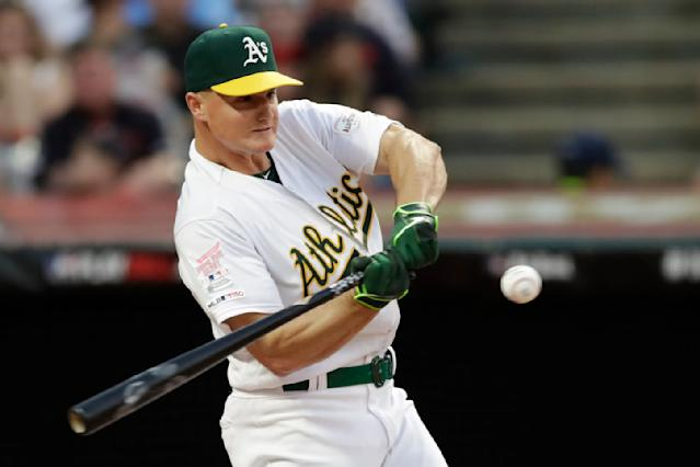 Matt Chapman, of the Oakland Athletics, hits during the Major League Baseball Home Run Derby, Monday, July 8, 2019, in Cleveland. The MLB baseball All-Star Game will be played Tuesday. (AP Photo/Tony Dejak)