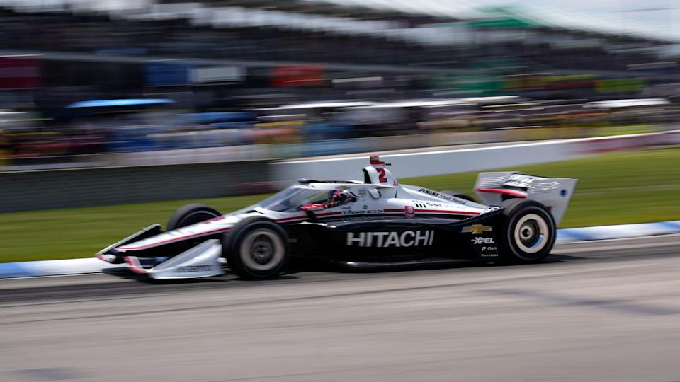 Josef Newgarden (2) races during the second race of the IndyCar Detroit Grand Prix auto racing doubleheader on Belle Isle in Detroit Sunday, June 13, 2021.