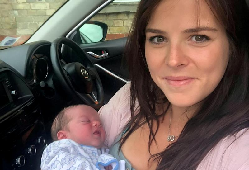 Nurse Naomi Hubbard delivered her own baby in the front seat of the car. (SWNS)