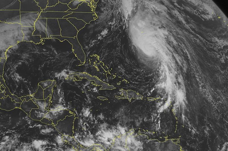 This NOAA satellite image taken Tuesday, October 16, 2012 at 10:45 AM EDT shows Hurricane Rafael over the Western Atlantic with maximum sustained winds of 85 mph. Quiet conditions elsewhere in the tropics. (AP PHOTO/WEATHER UNDERGROUND)