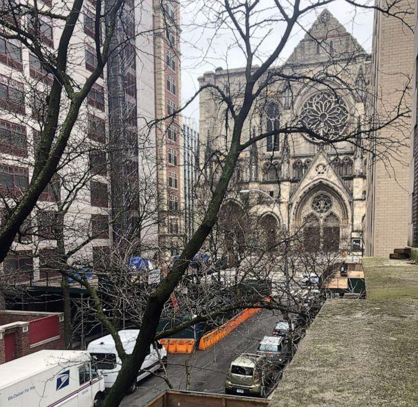 PHOTO: The Cathedral Church of St. John the Divine on the Upper West Side of Manhattan is seen from the window of Nina Tang's apartment, which she hasn't left in two weeks, March 31, 2020. (Courtesy Nina Tang)