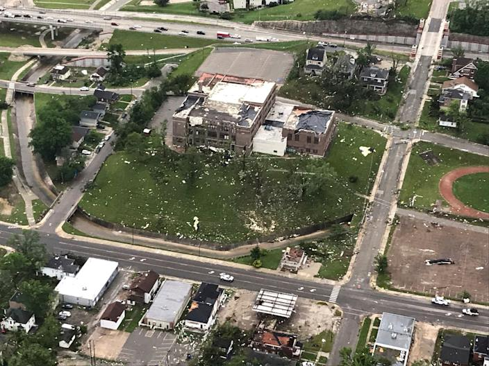 "In this frame grab from KTVI-TV video, tornado damage can be seen in Jefferson City, Missouri Thursday, May 23, 2019, after a tornado hit overnight. Missouri Gov. Mike Parson surveyed the hardest hit areas in Jefferson City on Thursday and called the damage ""devastating."" (Photo: KTVI-TV via AP)"