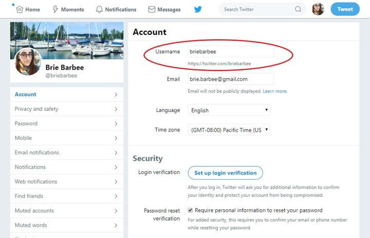 how to find change twitter username