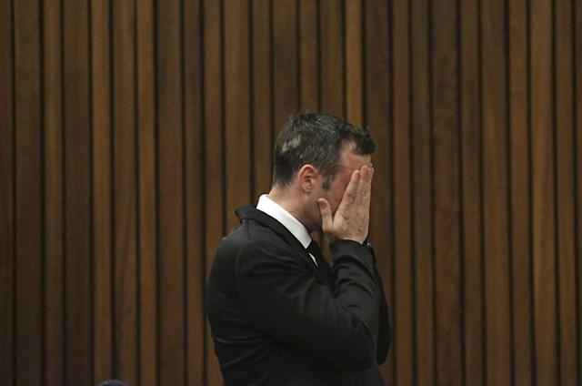 Oscar Pistorius reacts in the dock at the North Gauteng High Court in Pretoria, South Africa for a bail hearing, in this December 8, 2015 file photo. South African Olympian Oscar Pistorius cannot challenge his conviction for the murder of girlfriend Reeva Steenkamp, a spokesman for the prosecuting authorities said on March 3, 2016. REUTERS/Siphiwe Sibeko/Files