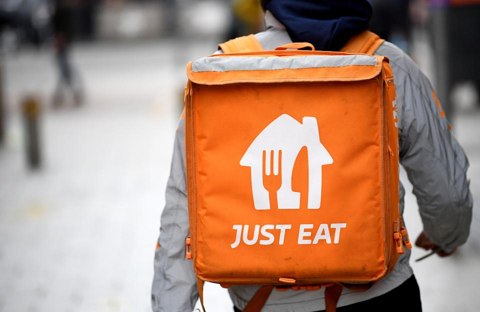 CARDIFF, WALES - MAY 1: A Just Eat worker on May 1, 2021 in Cardiff, Wales. (Photo by Matthew Horwood/Getty Images)