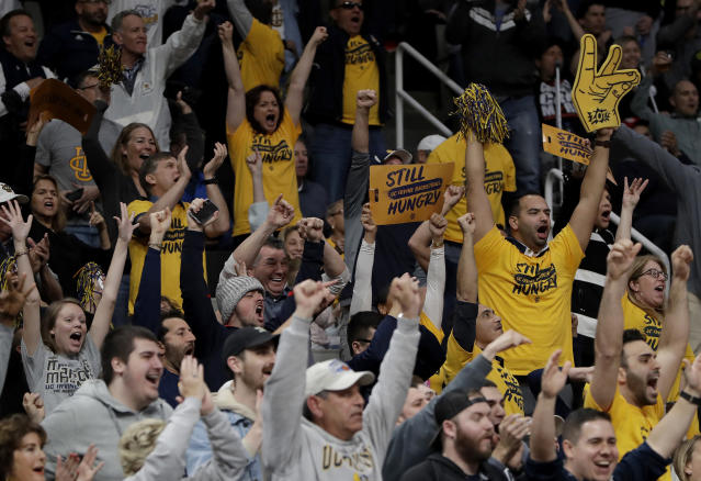 UC Irvine fans cheer during the second half a first-round game against Kansas State in the NCAA mens college basketball tournament Friday, March 22, 2019, in San Jose, Calif. (AP Photo/Chris Carlson)