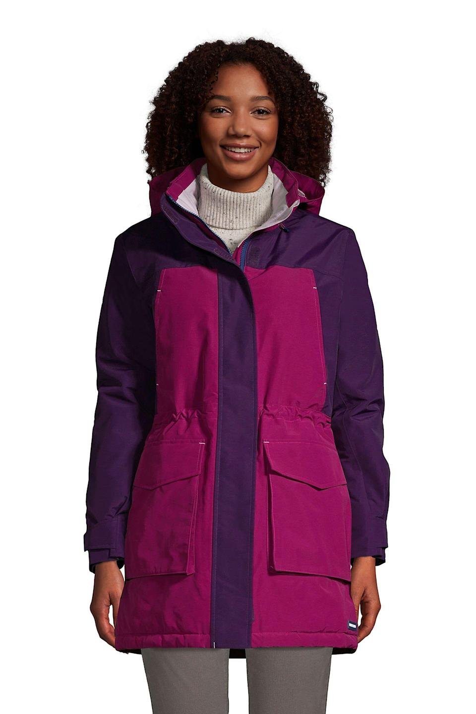"""<p><strong>Lands' End</strong></p><p>landsend.com</p><p><strong>$179.95</strong></p><p><a href=""""https://go.redirectingat.com?id=74968X1596630&url=https%3A%2F%2Fwww.landsend.com%2Fproducts%2Fwomens-squall-insulated-waterproof-winter-parka-coat-with-hood%2Fid_349442&sref=https%3A%2F%2Fwww.goodhousekeeping.com%2Fclothing%2Fwinter-coat-reviews%2Fg2273%2Fhighest-rated-womens-winter-coats%2F"""" rel=""""nofollow noopener"""" target=""""_blank"""" data-ylk=""""slk:Shop Now"""" class=""""link rapid-noclick-resp"""">Shop Now</a></p><p><strong>Insulation:</strong> Synthetic fill, fleece lining<strong><br></strong><strong>Best for:</strong> Extreme cold, wet conditions<br></p><p>With its impressive details to protect you against winter's elements, this nylon parka is windproof and waterproof to keep out rain, snow, ice and sleet. It's insulated and has a fleece lining to add extra warmth, but is <strong>designed to be lightweight in certain areas (like the lower body and hood)</strong> so it won't feel too heavy as you move. The two-way zipper is covered by a storm flap and there are plenty of zippered pockets to keep belongings safe.</p>"""