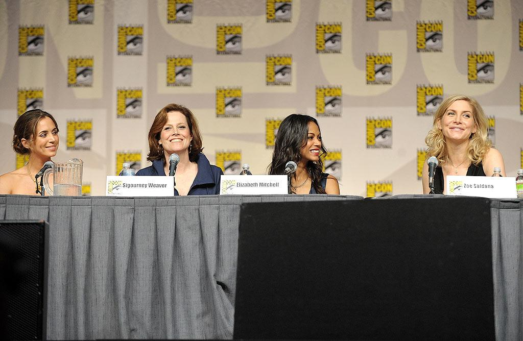 """One of the highlight's of the entire weekend took place when Eliza Dushku (""""Dollhouse""""), Sigourney Weaver (""""Alien""""), Zoe Saldana (""""Star Trek""""), and Elizabeth Mitchell (""""Lost"""") took part in an enlightening panel titled """"Wonder Women: Female Power Icons in Pop Culture."""" John Shearer/<a href=""""http://www.gettyimages.com/"""" target=""""new"""">GettyImages.com</a> - July 23, 2009"""
