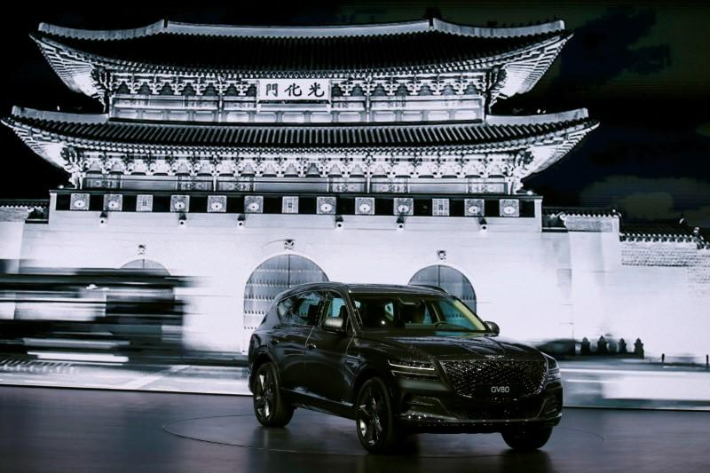 Hyundai Motor Genesis GV80 SUV is seen during its unveiling ceremony in Goyang