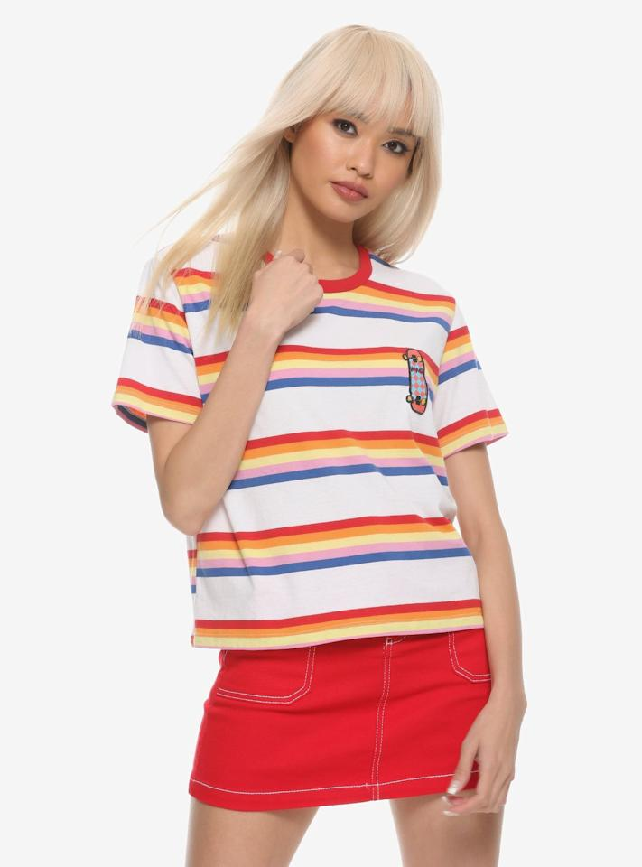 "<p>You won't need to go to the Starcourt Mall when you have this <a href=""https://www.hottopic.com/product/stranger-things-max-striped-girls-ringer-t-shirt/11895465.html"" target=""_blank"" class=""ga-track"" data-ga-category=""Related"" data-ga-label=""https://www.hottopic.com/product/stranger-things-max-striped-girls-ringer-t-shirt/11895465.html"" data-ga-action=""In-Line Links""><strong>Stranger Things</strong> Max Striped Girls Ringer T-Shirt</a> ($27).</p>"