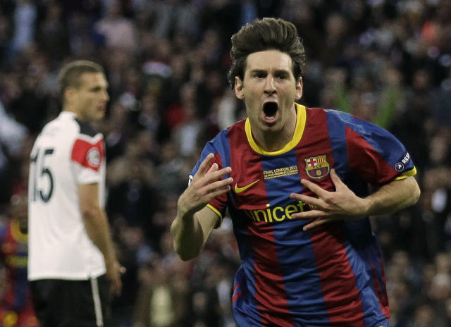 FILE - In this May 28, 2011 file photo, Barcelona's Lionel Messi celebrates scoring against Manchester United during their Champions League final soccer match at Wembley Stadium, London. L is for Lionel Messi. The driving force behind Barcelona's most recent successes, Lionel Messi's current total of 114 goals is second only to Cristiano Ronaldo, and sets them both up as the joint greatest players of this generation. (AP Photo/Matt Dunham, File)