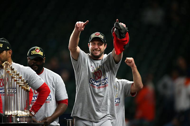 Max Scherzer has lived up to his massive by winning two Cy Young awards and leading the Washington Nationals to the franchise's first-ever World Series title. (Photo by Cooper Neill/MLB Photos via Getty Images)