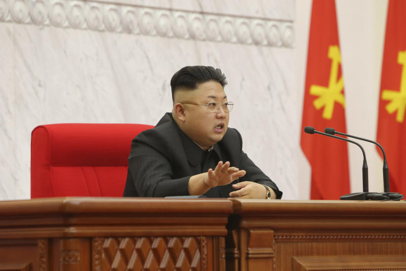 North Korean leader Kim Jong-un presides over a meeting of the Political Bureau of the Workers' Party of Korea's Central Committee in this undated photo released by North Korea's Korean Central News Agency (KCNA) in Pyongyang April 9, 2014. REUTERS/KCNA (NORTH KOREA - Tags: POLITICS) ATTENTION EDITORS - THIS PICTURE WAS PROVIDED BY A THIRD PARTY. REUTERS IS UNABLE TO INDEPENDENTLY VERIFY THE AUTHENTICITY, CONTENT, LOCATION OR DATE OF THIS IMAGE. FOR EDITORIAL USE ONLY. NOT FOR SALE FOR MARKETING OR ADVERTISING CAMPAIGNS. THIS PICTURE IS DISTRIBUTED EXACTLY AS RECEIVED BY REUTERS, AS A SERVICE TO CLIENTS. NO THIRD PARTY SALES. NOT FOR USE BY REUTERS THIRD PARTY DISTRIBUTORS. SOUTH KOREA OUT. NO COMMERCIAL OR EDITORIAL SALES IN SOUTH KOREA