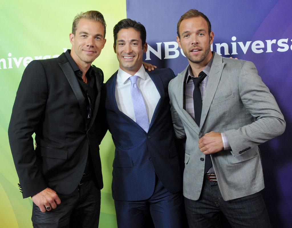 """Tim Lopez, Ben Patton, and Ernesto Arguello (""""Ready for Love"""") arrive at the NBC Universal Summer 2012 Press Tour at The Beverly Hilton Hotel on July 24, 2012 in Beverly Hills, California."""