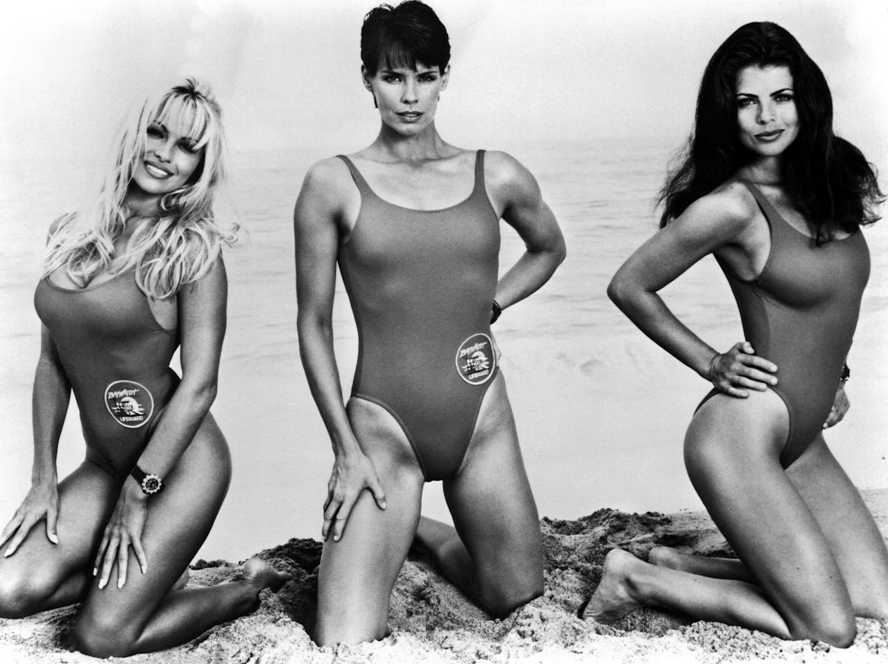 BAYWATCH, from left: Pamela Anderson, Alexandra Paul, Yasmin Bleeth, 1989-2001. ©Pearson Television/courtesy Everett Collection