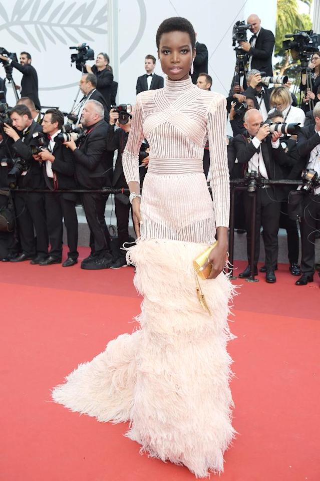 "<p>The model wore a design by Balmain's creative director, Olivier Rousteing, at the <a href=""https://www.yahoo.com/style/tagged/cannes/"" data-ylk=""slk:Cannes Film Festival"" class=""link rapid-noclick-resp"">Cannes Film Festival</a> L'Oréal Paris party. (Photo by Pascal Le Segretain/Getty Images) </p>"