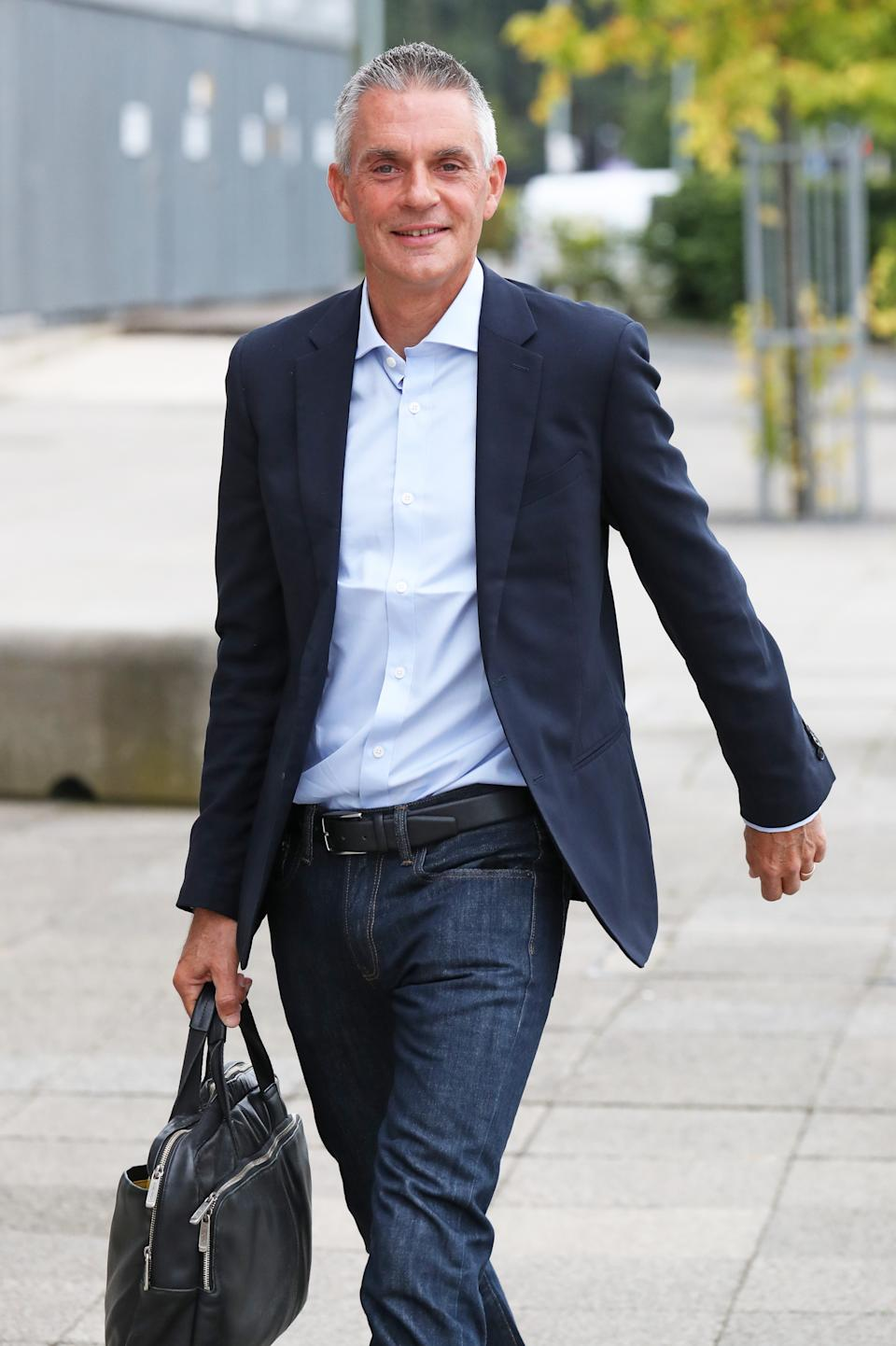 Tim Davie arrives at BBC Scotland in Glasgow for his first day as BBC director-general of the BBC. (PA)