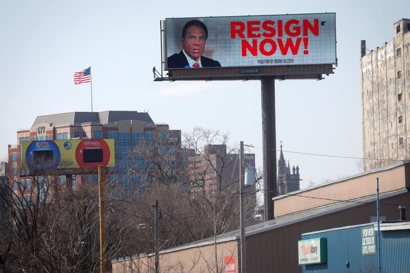 "Electronic billboard displays message for New York Governor Andrew Cuomo to ""Resign Now"" in Albany"
