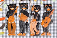 <p>This jazzy quartet features light embossing—a sure sign of their age—these cool cats bring in about $100 each. Reproductions of this 1940s design, which the company continues to make today, can be identified by their double-sided printing and a lack of embossing.</p>