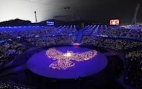<p>A general view during the Opening Ceremony of the PyeongChang 2018 Winter Olympic Games at PyeongChang Olympic Stadium on February 9, 2018 in Pyeongchang-gun, South Korea. (Photo by Richard Heathcote/Getty Images) </p>