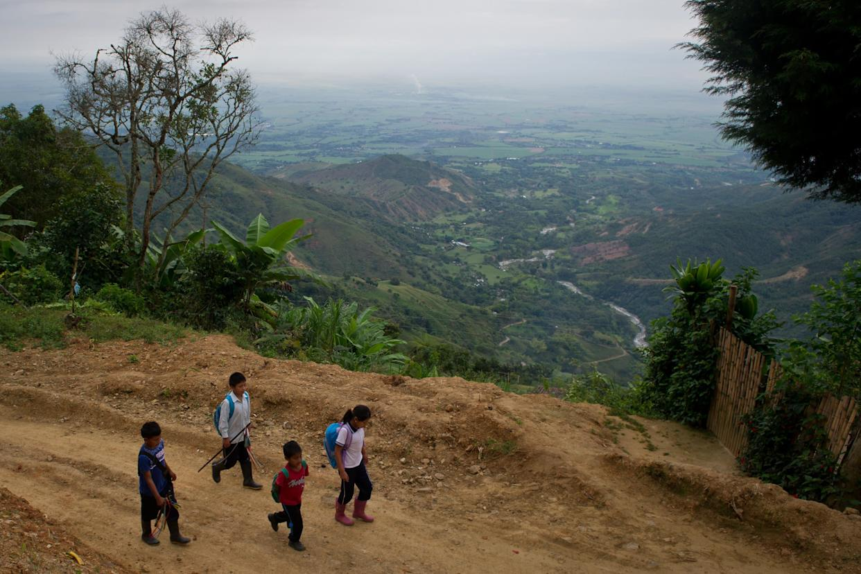 Gari Camayo Pito (second from left), 12, a Colombian indigenous child from the Nasa ethnic group, and his sister (right) meet two cousins on their way to school on June 21, 2013.