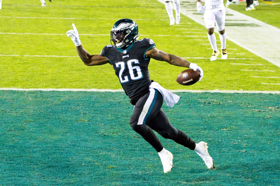 PHILADELPHIA, PA - DECEMBER 13: Philadelphia Eagles running back Miles Sanders (26) rushes for a touchdown during the game between the New Orleans Saints and the Philadelphia Eagles on December 13, 2020 at Lincoln Financial Field in Philadelphia, PA. (Photo by Andy Lewis/Icon Sportswire via Getty Images)