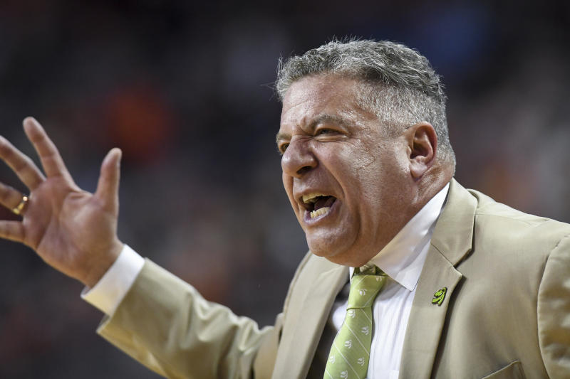 Auburn coach Bruce Pearl reacts to a play during the first half of the team's NCAA college basketball game against Mississippi on Tuesday, Feb. 25, 2020, in Auburn, Ala. (AP Photo/Julie Bennett)