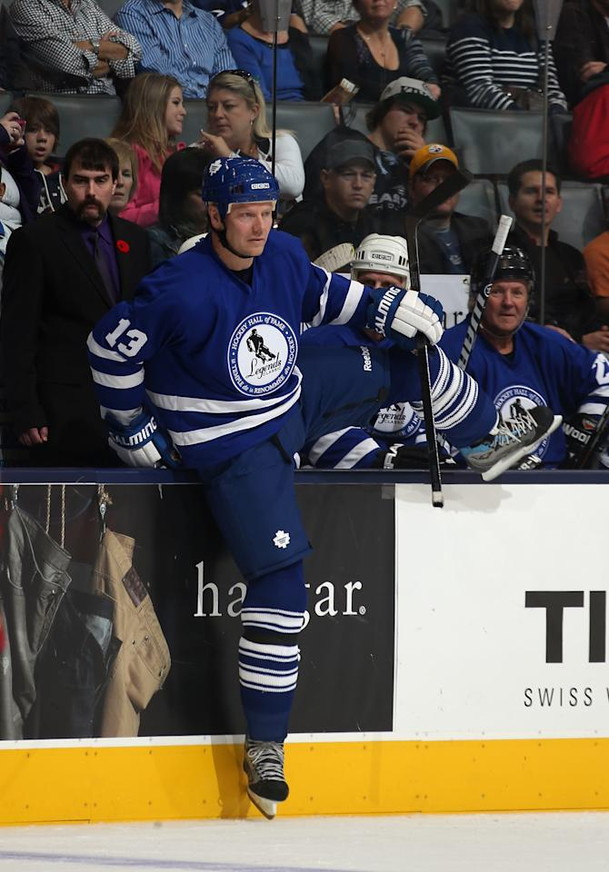 TORONTO, ON - NOVEMBER 11:  Mats Sundin steps on the ice to take a shift in the Hockey Hall of Fame Legends Game at the Air Canada Centre on November 11, 2012 in Toronto, Canada. Sundin will be inducted into the Hockey Hall of Fame at a ceremony at the Hall on November 12.  (Photo by Bruce Bennett/Getty Images)
