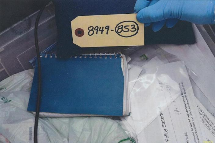 <p>A notebook belonging to Selim Esen that police found in McArthur's bedroom. Esen disappeared around Apr. 16, 2017. (Photo provided by the Crown) </p>