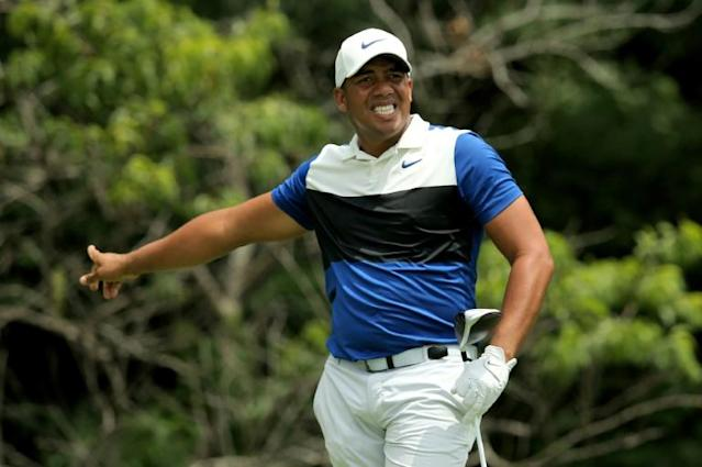 Jhonattan Vegas shows his frustration after a five-over-par third round at the John Deere Classic (AFP Photo/Dylan Buell)