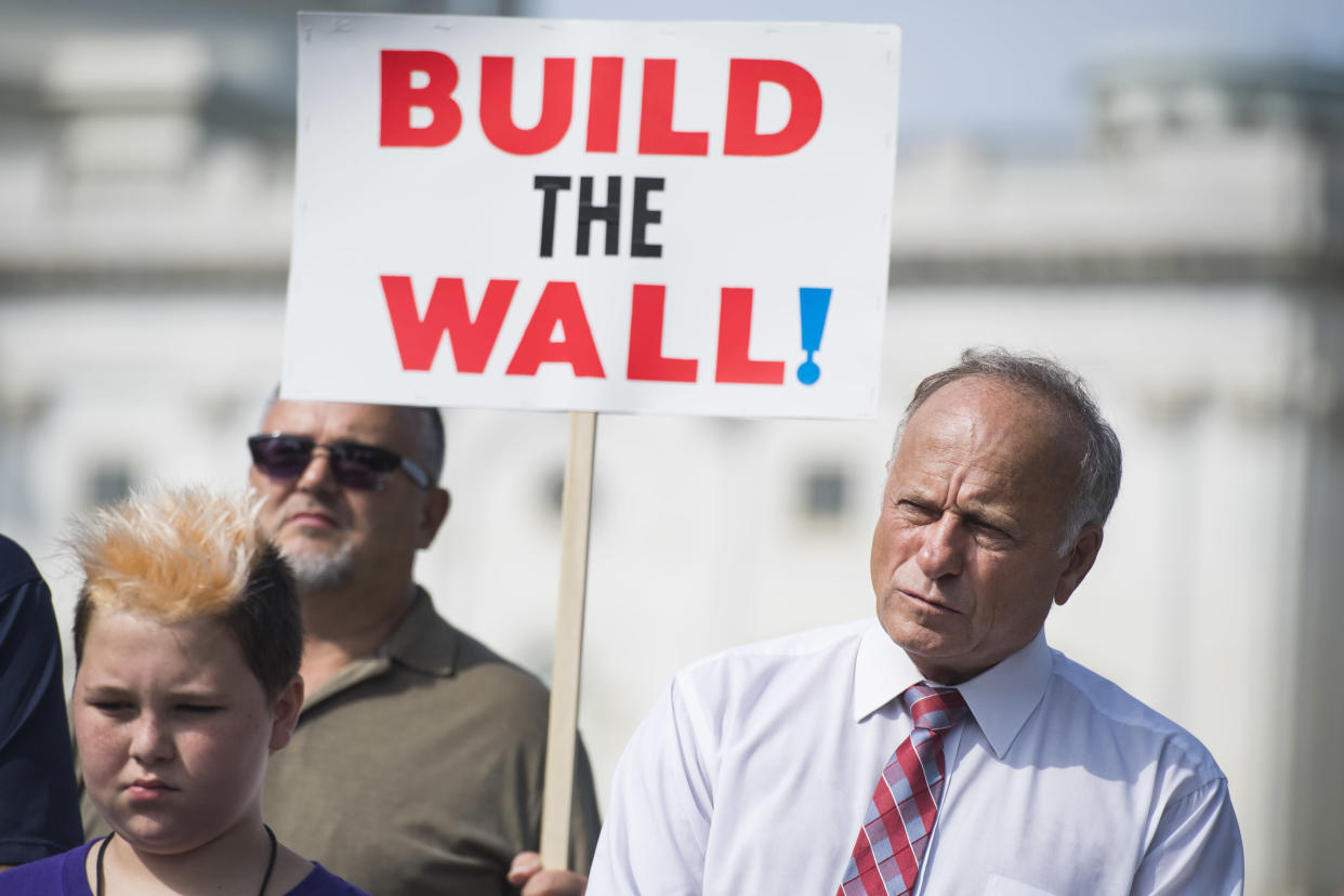 """<span class=""""s1"""">Steve King attends a rally in September to highlight crimes committed by illegal immigrants. (Photo: Tom Williams/CQ Roll Call)</span>"""