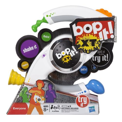 "<p class=""MsoNormal""><b><span>Bop-It! XT</span></b><br><br>The latest incarnation of Bop-It may have six functions but that doesn't stop it getting repetitive – especially if you're not playing. Noisy and visually distracting, we're not sure it'll stay in one piece for long!</p>"