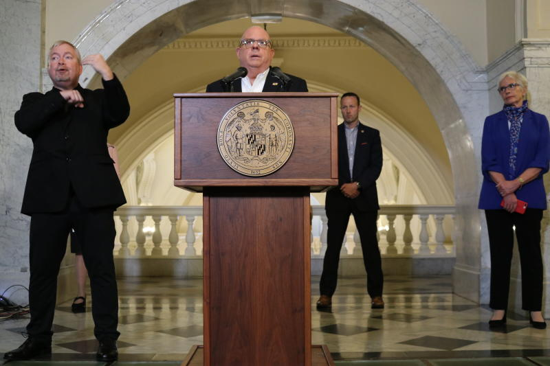Maryland Gov. Larry Hogan talks about the state's response to the new coronavirus during a news conference on Wednesday, March 25, 2020, in Annapolis, Md. Maryland schools will be closed another four weeks through April 24. Hogan said he has made a formal request for a presidential disaster declaration to help provide funding for state and local governments as well as nonprofits. (AP Photo/Brian Witte)