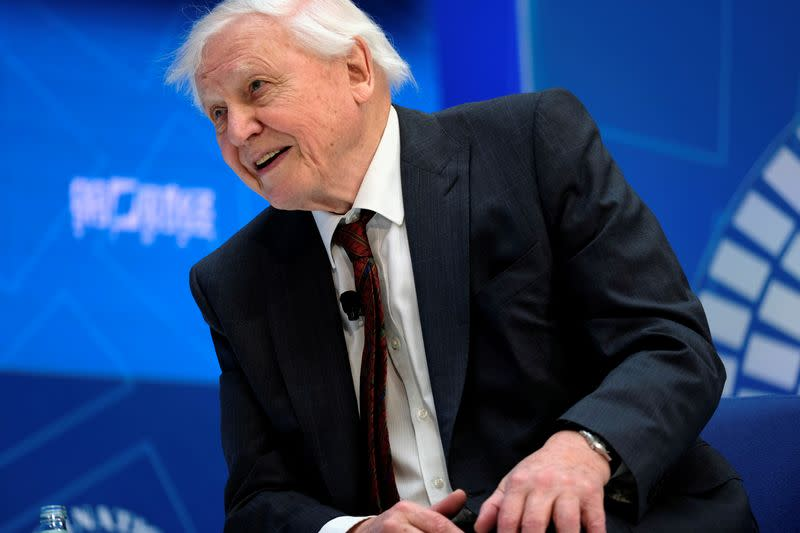 FILE PHOTO: Sir David Attenborough sits for an interview with IMF Managing Director Christine Lagarde during the Spring Meetings of the World Bank Group and IMF in Washington