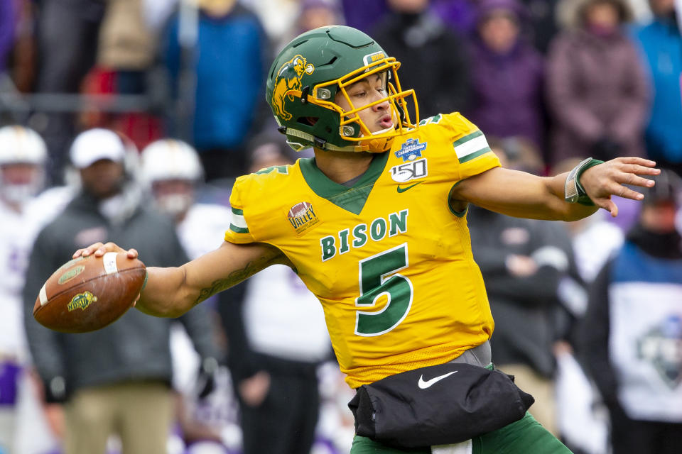 North Dakota State quarterback Trey Lance (5) winds up to throw during the first half of the FCS championship on Jan. 11, 2020, in Frisco, Texas. (AP)