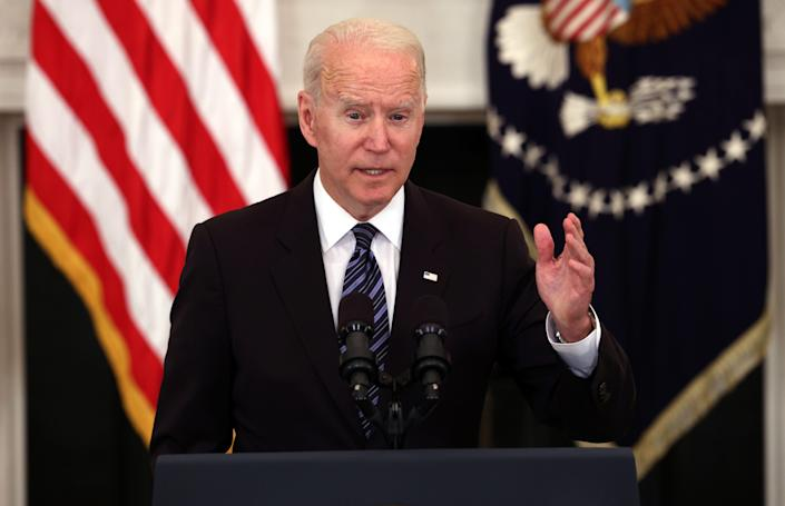 WASHINGTON, DC - JUNE 23: U.S. President Joe Biden speaks on gun crime prevention measures at the White House on June 23, 2021 in Washington, DC. Biden outlined new measures to curb gun violence including stopping the flow illegal guns and targeting rogue gun dealers.