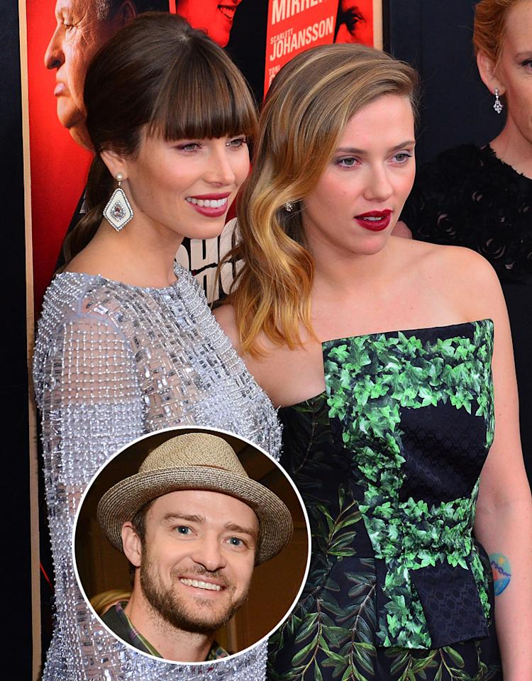 "NEW YORK, NY - NOVEMBER 18:  Scarlett Johansson and Jessica Biel (L) attend the ""Hitchcock"" New York Premiere at Ziegfeld Theatre on November 18, 2012 in New York City.  (Photo by James Devaney/WireImage) Michael Kovac/WireImage"