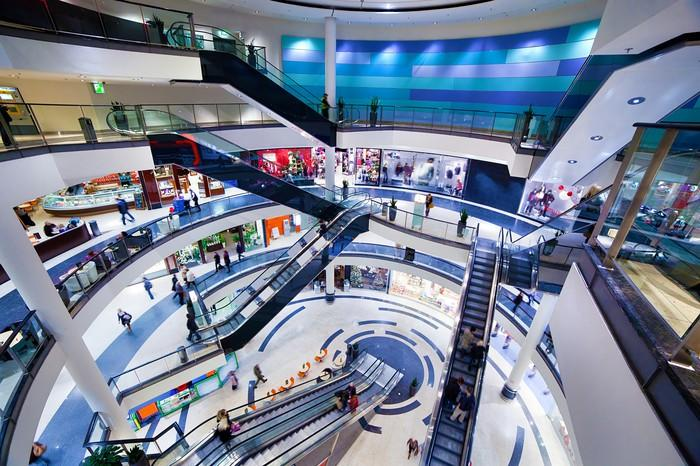 Modern shopping mall interior.