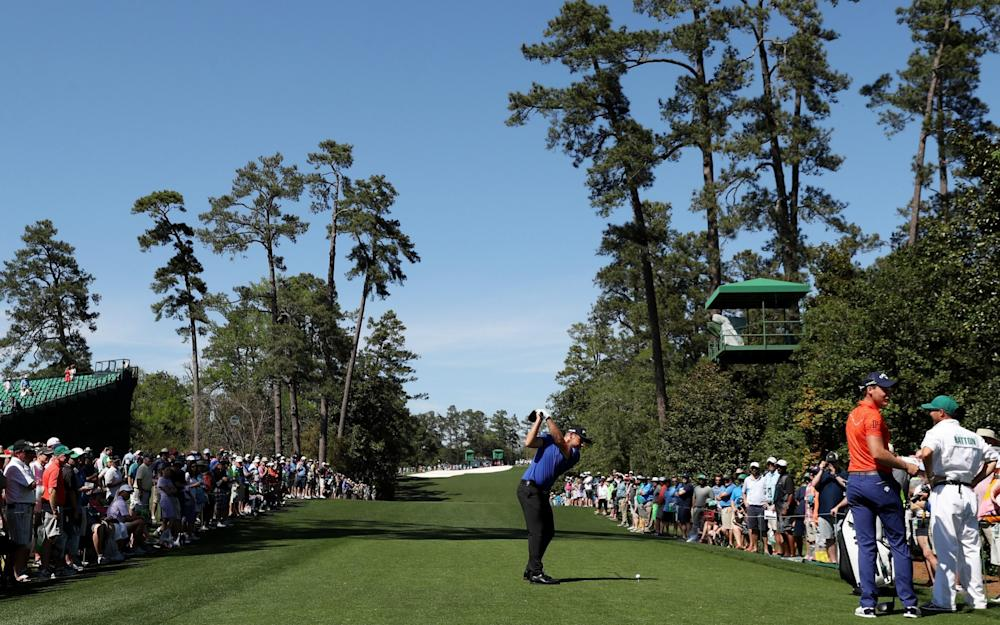 Tyrrell Hatton of England plays a tee shot during a practice round prior to the start of the 2017 Masters Tournament at Augusta National Golf Club on April 4, 2017 in Augusta, Georgia - Credit: Rob Carr /Getty
