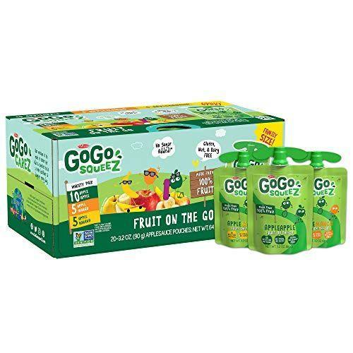 "<p><strong>GoGo SqueeZ</strong></p><p>amazon.com</p><p><strong>$9.78</strong></p><p><a href=""https://www.amazon.com/dp/B07C37KZQD?tag=syn-yahoo-20&ascsubtag=%5Bartid%7C10063.g.36163703%5Bsrc%7Cyahoo-us"" rel=""nofollow noopener"" target=""_blank"" data-ylk=""slk:Shop Now"" class=""link rapid-noclick-resp"">Shop Now</a></p><p>Applesauce is always a great snack (or side) option for toddlers. GoGo SqueeZ packets are a perfect on-the-go pick. They're unsweetened and made with no high fructose corn syrup, and they're also nut-free, dairy-free, and gluten-free. They come in conveniently portable BPA-free squeezable pouches, and there are a variety of flavors your little one will love. </p>"