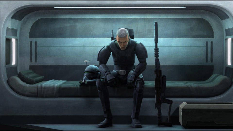 CG animated Crosshair sits alone in his bunk in The Bad Batch