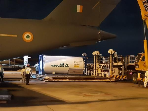 Indian Air Force airlifts cryogenic oxygen containers (Photo/ANI)